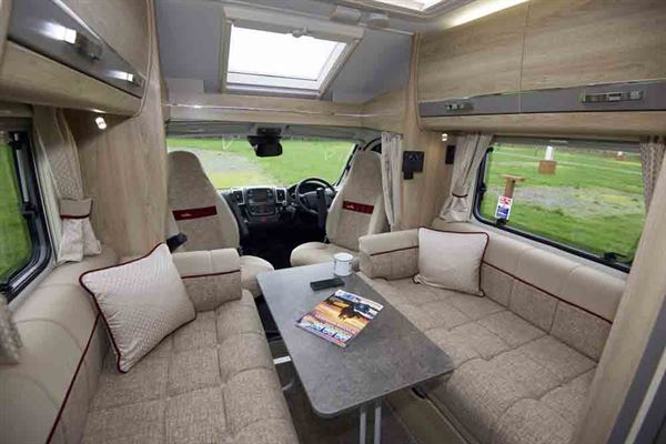 The Elddis Majestic lounge with dining table out