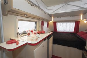 Another view of the bedroom in the Eriba Touring Troll 530 Rockabilly caravan