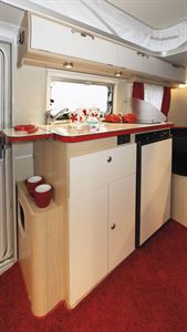 Another view of the kitchen facilities in the Eriba Touring Troll 530 Rockabilly caravan