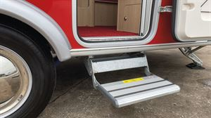 A built-in step in the Eriba Touring Troll 530 Rockabilly caravan