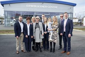 Annabel Edwards, second from left, with the Edwards family outside the Erwin Hymer Centre in Stafford. Picture courtesy of Erwin Hymer Centre Travelworld