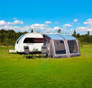 An awning for use with a caravan