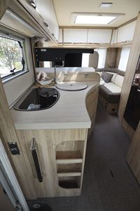 The neat side kitchen in the Eura Mobil Integra Line 650 HS motorhome