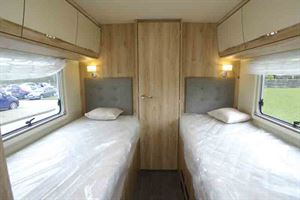 The rear twin beds in the Eura Mobil - picture courtesy of Geoff Cox Leisure