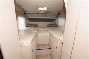 The bedroom in the Hymer Exsis i-580 motorhome