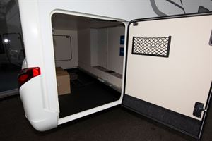 The garage in the Hymer Exsis i-580 motorhome