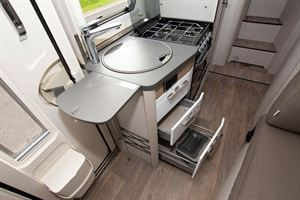 The kitchen in the Hymer Exsis i-580 motorhome