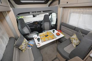 The front lounge in the Auto-Trail F-Line F74 motorhome