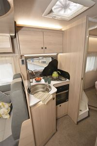 The kitchen in the Auto-Trail F-Line F74 motorhome