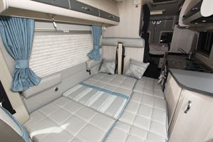 With interior seating converted into beds in the Auto-Sleepers Fairford Plus campervan
