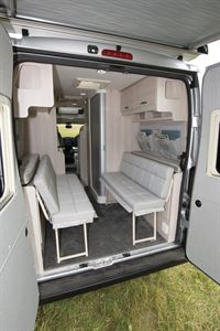 Rear doors open and seating set up