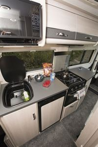 The kitchen in the Auto-Sleepers Fairford Plus campervan