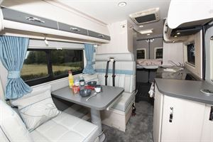 The interior of the Fairford Plus campervan
