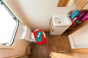 Floorspace in the washroom isn't enormous but all you need is here