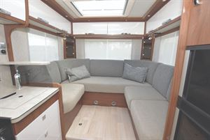 Frankia F-Line 680 Motorhome interior with rear lounge layout