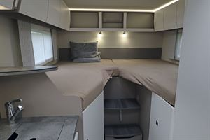 The stylish bedroom in the Frankia Neo MT 7 GD motorhome