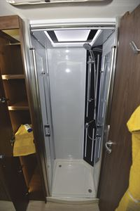 The shower in the Frankia Platin I8400 Plus motorhome