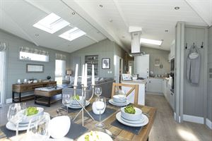 The open plan living area in the Prestige Homeseeker Glass House - picture courtesy of Whitehill Country Park