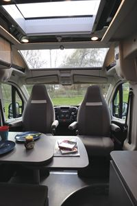 View of the cab seats in the  Globecar Summit Prime 640 campervan