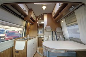 The interior of the Globecar Campscout Revolution campervan