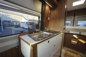 The kitchen in the Globecar Campscout Revolution campervan
