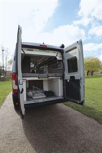 With rear doors open in the  Globecar Summit Prime 640 campervan