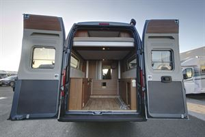The Globecar Campscout Revolution campervan, with rear doors open