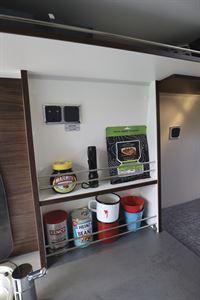 Useful food storage in the  Globecar Summit Prime 640 campervan