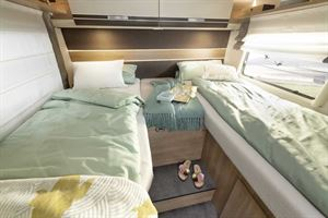 The rear twin single beds in the new Globeline T 6613 EB