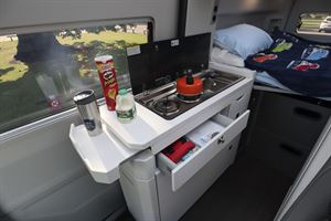 The kitchen in the Grand California 600 campervan