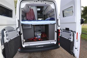With the rear doors in the Grand California 600 campervan open
