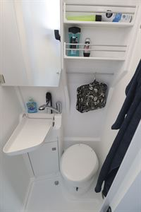 The washroom in the Grand California 600 campervan