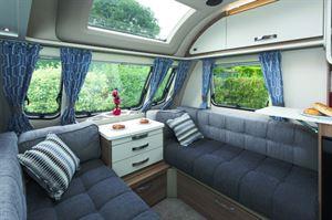 Greys and blues - a delightfully modern soft furnishings scheme