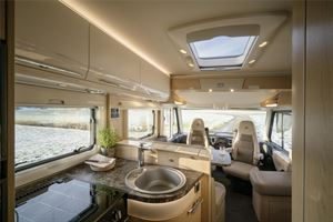 The front lounge in the new Hymer B-Class SupremeLine 674 luxury motorhome