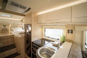 The galley is well equipped and has an oven in British models