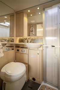 The washroom is equally as luxurious as the rest of the motorhome