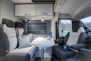 The front lounge in the new HymerCar Free 600 Blue Evolution special edition campervan