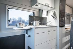The kitchen in the new HymerCar Free 600 Blue Evolution special edition campervan