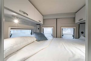 The rear transverse double bed in the new HymerCar Free 600 Blue Evolution special edition campervan