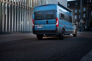The rear of the new HymerCar Free 600 Blue Evolution special edition campervan