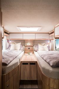 The rear twin single beds in Hymer's latest T-CL 574 Ambition