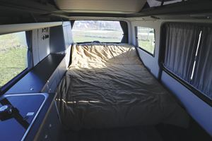 The bed in the HemBil Urban campervan