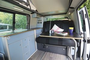 The view of the interior of the HemBil Drift campervan