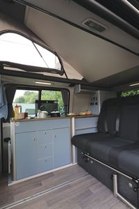 The kitchen in the HemBil Drift campervan