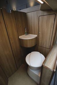 The washroom in the Hillside Cromford campervan