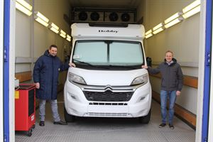 Motorhome designers Matthias Schatzle and Stefan Fricke in the cold chamber