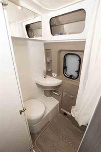 The washroom has an upmarket look