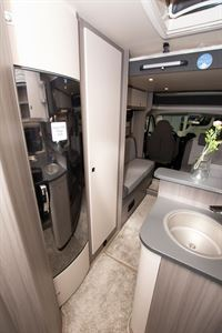 A view of the lounge in the Hobby Optima OnTour T65 HKM