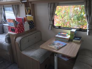 Lorisa Talbot of Chalfont St Giles set up her Coachman Vision caravan as a temporary class-room