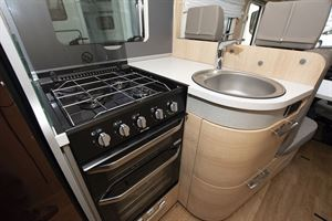 A close-up look at the kitchen in the Hymer B-MC I 600 WhiteLine motorhome